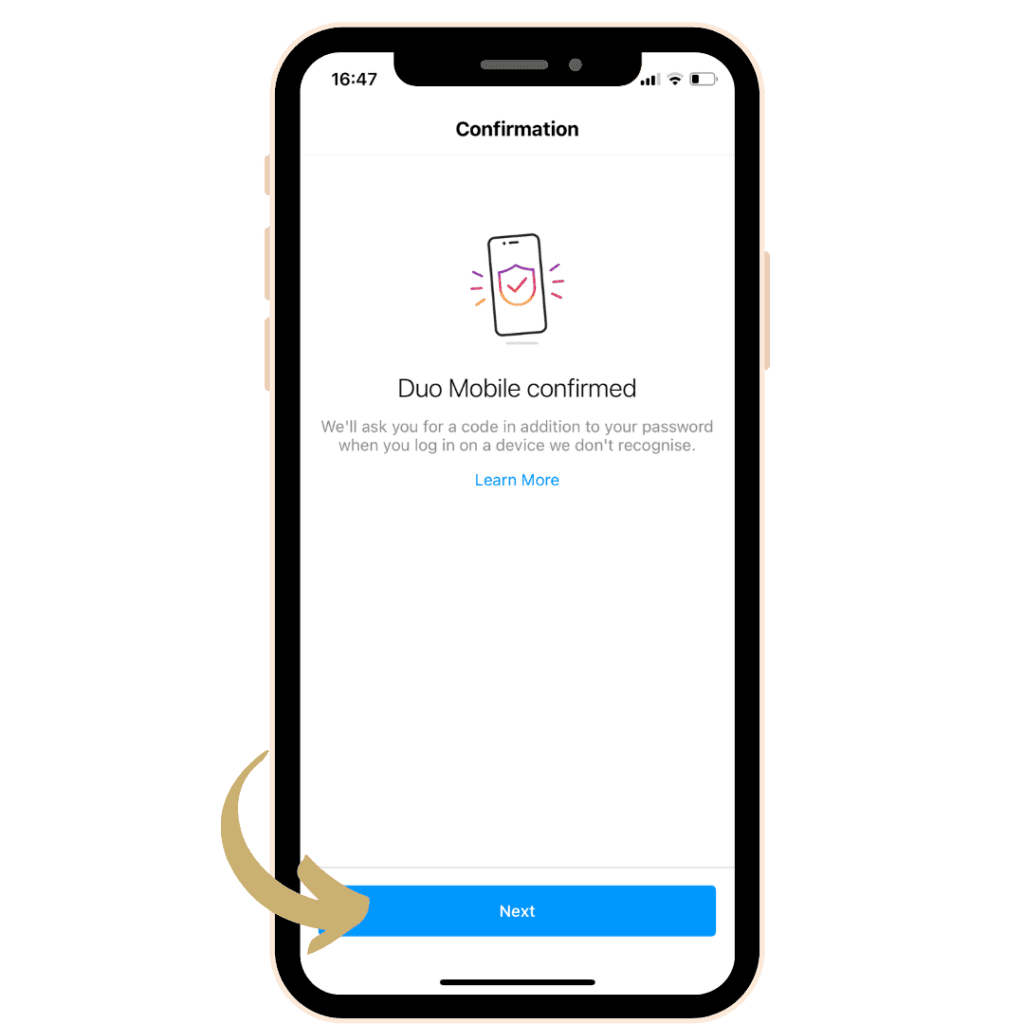 Iphone with Instagram app open, demonstrating how to turn on two factor authentication for Instagram to protect from hackers